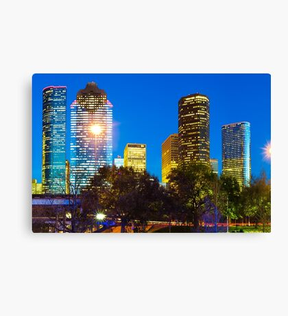 Magnolia City at Dusk - Houston Texas Skyline Canvas Print