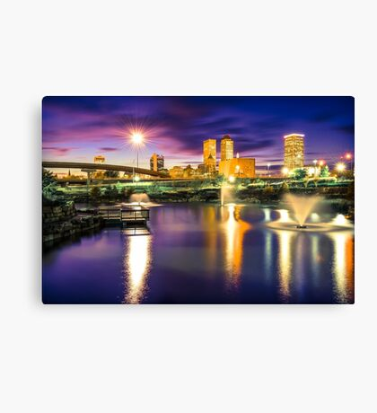 Lights Over Downtown Tulsa Skyline Canvas Print