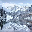 The Snowy Bells - Maroon Bells Aspen Colorado by Gregory Ballos
