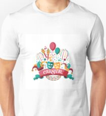 Festive banner and icon set design for party or Carnival with ribbon, balloons, confetti, fireworks and other fun objects. T-Shirt