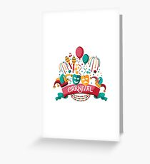 Festive banner and icon set design for party or Carnival with ribbon, balloons, confetti, fireworks and other fun objects. Greeting Card
