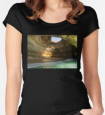 Sea Cave Sunlight - the Iconic Benagil Natural Wonder Women's Fitted Scoop T-Shirt