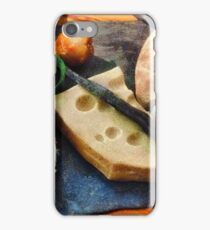 Food still life on vintage old retro wooden iPhone Case/Skin
