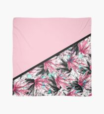 Blush Pink and Teal Abstract Tropical Leaves Scarf