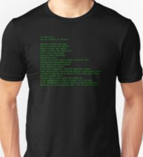 The Zen of Python (green text) T-Shirt