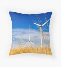 Wind farm generators over dry grass Throw Pillow