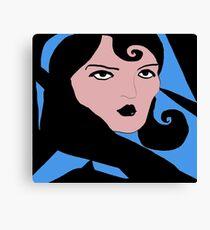 Darker Retro Lady Face Canvas Print