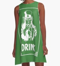 Funny Leprechaun Uncle Sam St Patricks Day 2017 Irish A-Line Dress