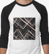 Rose Gold Black Linear Triangle Abstract Pattern Men's Baseball ¾ T-Shirt