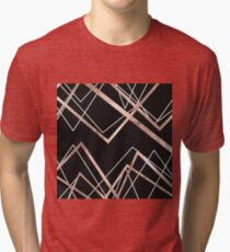 Rose Gold Black Linear Triangle Abstract Pattern Tri-blend T-Shirt
