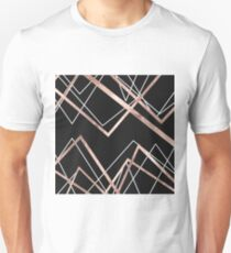 Rose Gold Black Linear Triangle Abstract Pattern Unisex T-Shirt