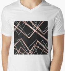 Rose Gold Black Linear Triangle Abstract Pattern Men's V-Neck T-Shirt