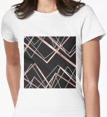 Rose Gold Black Linear Triangle Abstract Pattern Womens Fitted T-Shirt