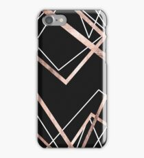 Rose Gold Black Linear Triangle Abstract Pattern iPhone Case/Skin