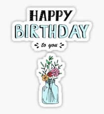 Happy Birthday lettering, vector illustration with flowers. Good for header, invitation, banner, greeting card, baby shower Sticker