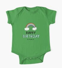 Happy Birthday lettering, vector illustration with rainbow. Good for header, invitation, banner, greeting card, baby shower Kids Clothes