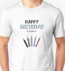 Happy Birthday lettering, vector illustration with candles. Good for header, invitation, banner, greeting card, baby shower Unisex T-Shirt
