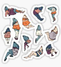 Peppy Springtime Legfish Pattern (Muted Complementaries) Sticker