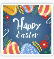 Happy Easter Greeting Card with Lettering, Easter Eggs and Flowers Sticker