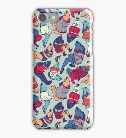 Peppy Springtime Legfish Pattern (Bright Complementaries) iPhone Case/Skin