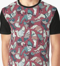 Peppy Springtime Legfish Pattern (Red & Teal) Graphic T-Shirt