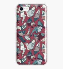 Peppy Springtime Legfish Pattern (Red & Teal) iPhone Case/Skin