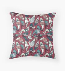 Peppy Springtime Legfish Pattern (Red & Teal) Throw Pillow