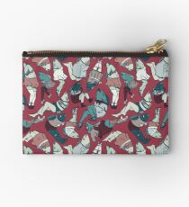 Peppy Springtime Legfish Pattern (Red & Teal) Studio Pouch