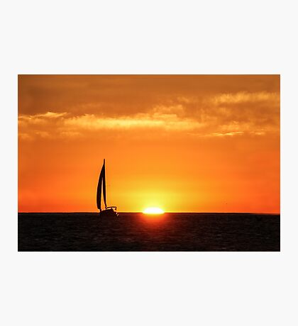 Sailing Past the Setting Sun, San Diego  Photographic Print