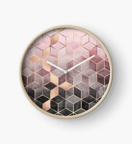 Pink And Grey Gradient Cubes Clock