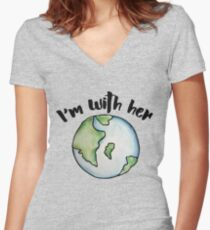 I'm with her mother earth Women's Fitted V-Neck T-Shirt