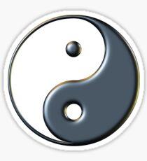 Yin & Yang Symbol in 'Metallic Black Paint' Sticker