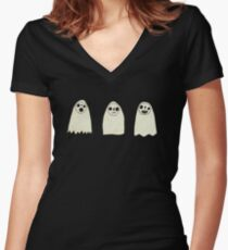 Three Spooky Ghosts Women's Fitted V-Neck T-Shirt