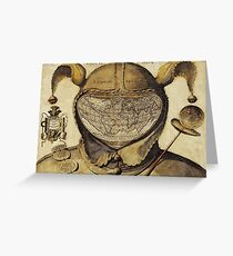 Crazy World antique French joker, court jester map Greeting Card