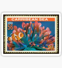 Caribbean Sea Postage Stamp Sticker