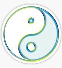 Yin & Yang Symbol in White / Light Blue / Yellow Sticker