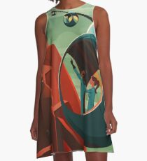THE VOLCANO OF MARS - Olympus Mons | Space | X | Retro | Vintage | Futurism | Sci-Fi A-Line Dress