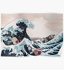 The Great Wave plastic pollution Poster