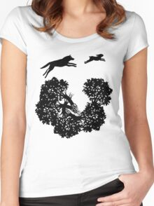 Wolf and Rabbit Forest Silhouettes Women's Fitted Scoop T-Shirt