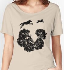 Wolf and Rabbit Forest Silhouettes Women's Relaxed Fit T-Shirt