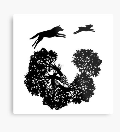 Wolf and Rabbit Forest Silhouettes Metal Print