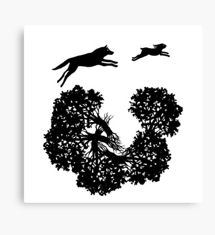 Wolf and Rabbit Forest Silhouettes Canvas Print