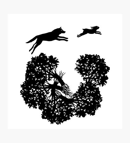 Wolf and Rabbit Forest Silhouettes Photographic Print