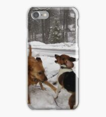 Dogs at Play in the Snow iPhone Case/Skin