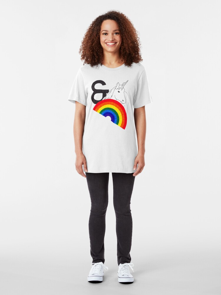 Alternate view of Rainbows & Unicorns Slim Fit T-Shirt