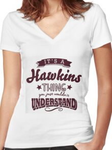 Its a hawkins thing Women's Fitted V-Neck T-Shirt