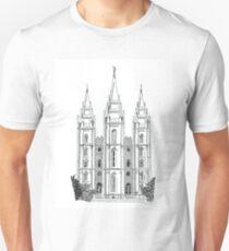 Salt Lake LDS Temple Ink Drawing Unisex T-Shirt