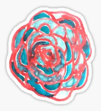 Blue and Red Watercolor Flower Sticker