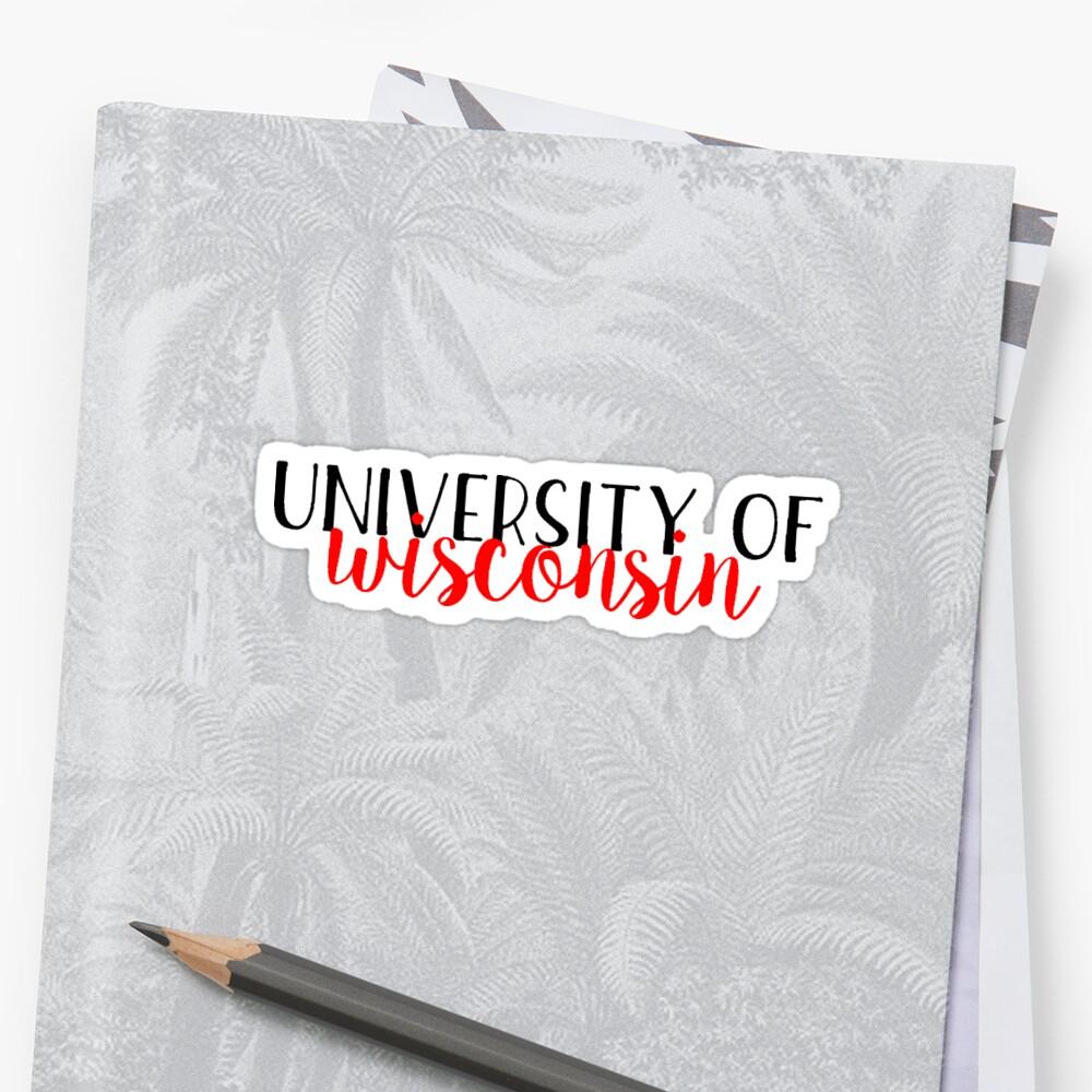 Universidad de Wisconsin - Estilo 2 Pegatina