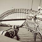 View of harbour bridge from tall ship by Karen Stevenson